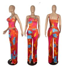 Sexy Printed Vest Top Wide Leg Pants 2 Piece Sets CHY-1348