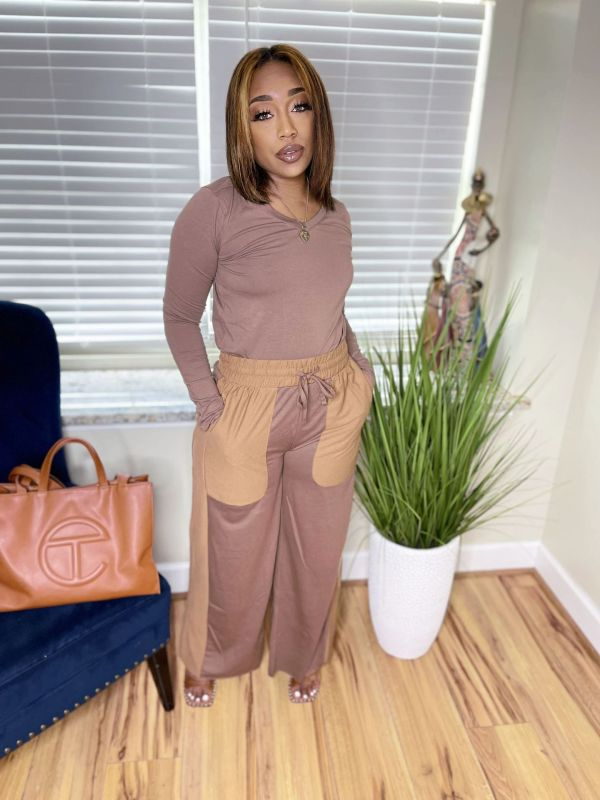 Casual Long Sleeve Loose Pants Two Piece Suits LS-0176