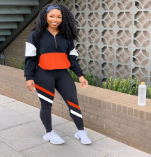 Plus Size Casual Sports Patchwork Two Piece Suits SHA-86269