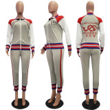 Casual Sports Zipper Coat And Pants Two Piece Suits JH-277