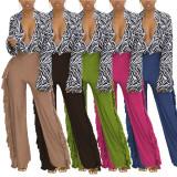 Solid Tassel Mid-Waist Wide Leg Pants MTY-6538-K