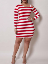 Plus Size Striped Off Shoulder Long Sleeve Mini Dress (Without Chain)WTF-9154