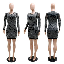 Sexy Hot Drilling Long Sleeve Club Dress CYA-9235