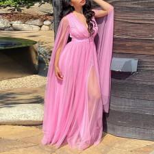 Plus Size Sexy Mesh Deep V Neck Maxi Dress CYA-1702