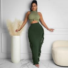 High Waist Tassel Long Skirt MZ-2676
