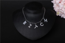 Letter Rhinestone Pendant Jewelry Necklace BYCF-0161