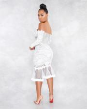 Sexy Lace Mesh Off Shoulder Long Sleeve Mermaid Midi Dress ME-W925
