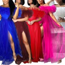 Sexy Mesh Off Shoulder High Split Maxi Dress CYA-1703