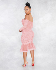 Sexy Lace Off Shoulder Long Sleeve Mermaid Midi Dress ME-W932