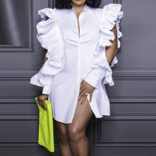Plus Size White Ruffle Long Sleeve Blouse CYA-1692