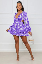 Sexy Printed V Neck Long Sleeve Mini Dress YMEF-5039