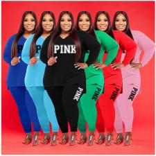 Plus Size Pink Letter Print V Neck Long Sleeve 2 Piece Sets WAF-77281