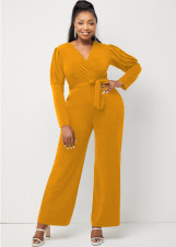 Solid V Neck Puff Sleeve Sashes Jumpsuit LINW-W9322
