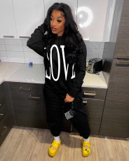 Letter Print Hoodie Top And Pants 2 Piece Suits QZX-6233