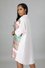 Plus Size Printed Casual Loose Long Sleeve Shirt Dress LINW-W9321