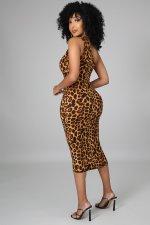Sexy Printed Lace Up Sleeveless Midi Dress LINW-W9317
