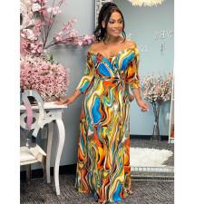 Sexy Printed V Neck High Waist Sashes Maxi Dress SMF-81122