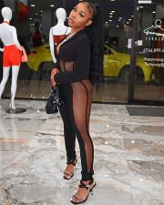 Sexy Mesh Patchwork Bodysuit+Pants Two Piece Sets FENF-184