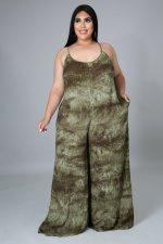 Plus Size Printed Strap Wide Leg Jumpsuit NNWF-7229