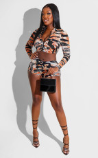 Sexy Printed Zipper Crop Top And Shorts 2 Piece Sets MZ-2673