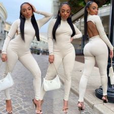 Sexy Solid High Collar Backless Long Sleeve Jumpsuit OXF-8097
