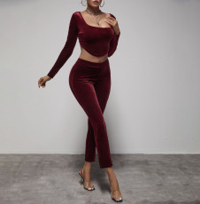 Sexy Velvet Long Sleeve Two Piece Pants Set YIBF-6117