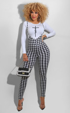 Letter Long Sleeve Top+Houndstooth Strap Jumpsuit 2 Piece Sets ORY-5210