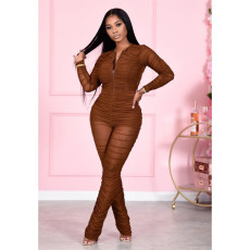 Sexy Mesh Ruched Long Sleeve Zipper Jumpsuit FENF-186