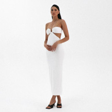 Halter Sexy Low-cut Split Solid Color Dress FL-JY21115