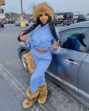 Solid Plush Hoodie And Pants 2 Piece Sets WSM-5285
