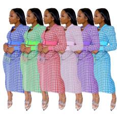 Plaid Long Sleeve Zipper Top Long Skirt 2 Piece Sets MYF-2666