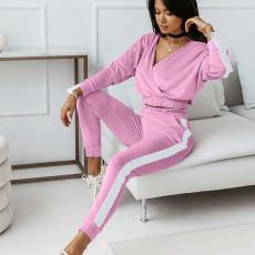Velvet V Neck Long Sleeve 2 Piece Pants Set FL-21056