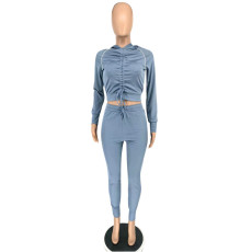 Casual Hooded Drawstring Long Sleeve 2 Piece Pants Set NSFF-88803