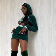 Velvet Hooded Embroidery Letter Long Sleeve Mini Skirt 2 Piece Sets FL-21126