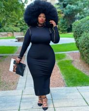 Plus Size Solid Long Sleeve O Neck Maxi Dress MWDF-8352