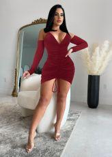 Sexy Off Shouder Drawstring Ruched Sling Mini Dress MZ-2680
