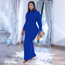 Plus Size Solid Long Sleeve Casual Maxi Dress WPF-80388