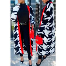 Plus Size Fashion Long Color Block Coat CYA-1710