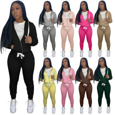 Solid Sports Zipper Hoodie And Pants 2 Piece Suits MIL-L273