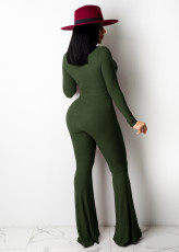 Sexy Hollow Out Long Sleeve Flared Jumpsuit ME-Y971
