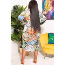 Plus Size Printed Long Sleeve Sashes Shirt Dress CY-6528