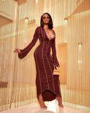 Sexy Lace Up Long Sleeve Irregular Maxi Dress YN-88823