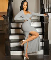 Sexy Long Sleeve High Spilt Slim Maxi Dress YUYF-6117