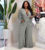Plus Size Solid Long Sleeve Loose Wide Leg Jumpsuit YN-88826