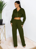 Solid Hooded Zipper Coat And Pants Loose 2 Piece Suits MTY-6597