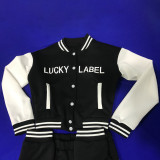 LUCKY LABEL Letter Print Baseball Jacket And Pants Sets MEI-9213