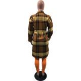Plus Size Plaid Full Sleeve Split Long Coat OMY-80068