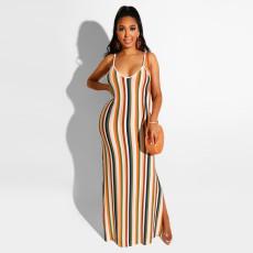 Sexy Striped Print Spaghetti Strap Maxi Dress FSXF-95