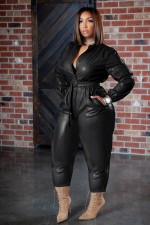PU Leather Long Sleeve Belted Jumpsuit LQ-057