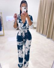 Casual Printed V Neck Long Sleeve Sashes Jumpsuit ANDF-0706